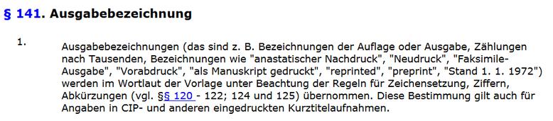 """Als Manuskript gedruckt"" als Ausgabebezeichnung gemäß RAK § 141"