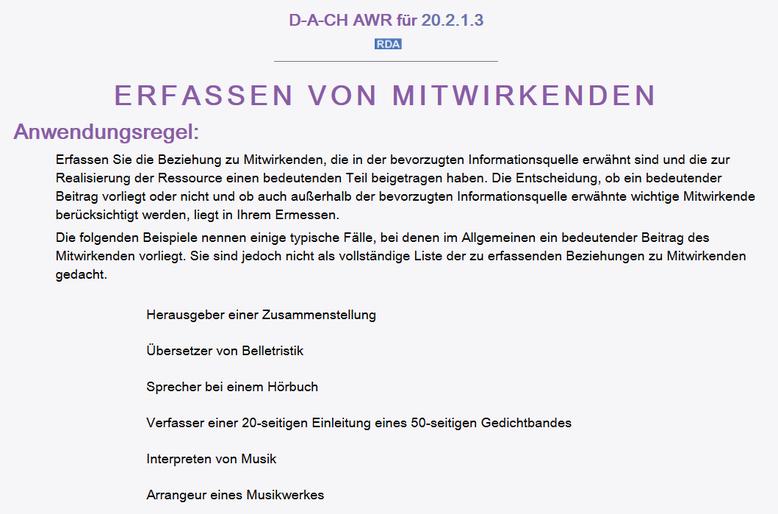 Screenshot aus dem RDA Toolkit mit der Anwendungsregel zur Erfassung von Mitwirkenden