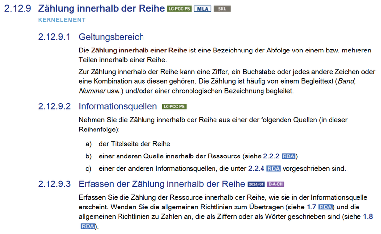 Anfang von RDA 2.12.9, Screenshot aus dem RDA Toolkit (www.rdatoolkit.org), verwendet mit Genehmigung der RDA-Verleger (American Library Association, Canadian Library Association und CILIP)