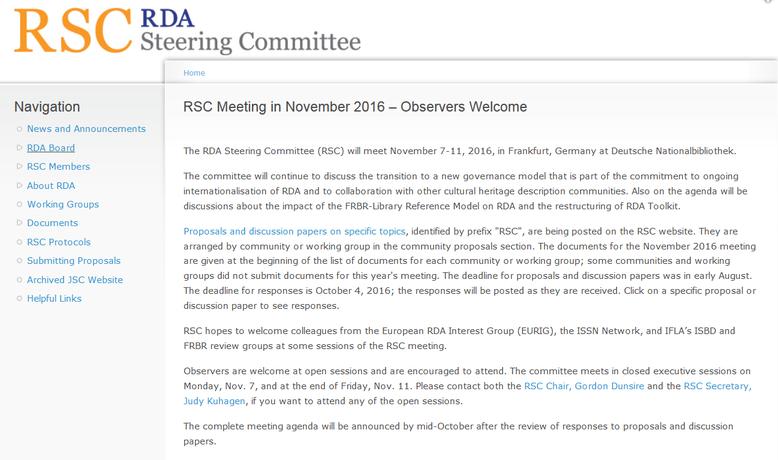 """Die Einladung zur Teilnahme als """"Observer"""" auf der RSC-Website"""