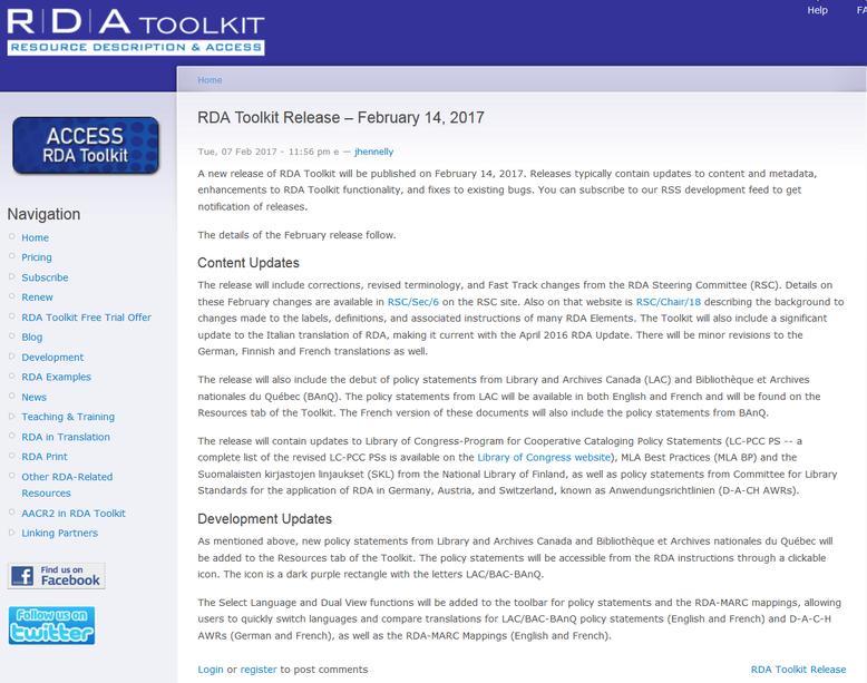 Info zum Februar-Release 2017 auf der Website des RDA Toolkit