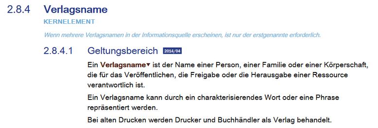 """Screenshot aus dem RDA Toolkit mit der Definition von """"Verlagsname"""""""