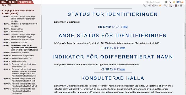 Ausschnitt aus den Anwendungrichtlinien der Schwedischen Nationalbibliothek