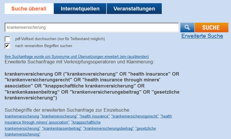 So sah eine Suche in EconBiz früher aus (Screenshot vom Mai 2012)