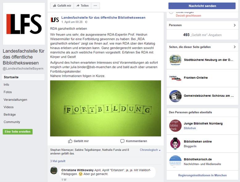 Facebook-Post der Landesfachstelle Bayern zum 1. April 2018