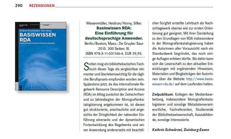 Rezension von Kathrin Schwärzel in B.I.T. online 3/2016, S. 290