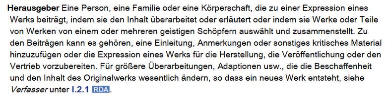 Screenshot aus dem RDA Toolkit mit der Definition von Herausgeber in Anhang I.3.1