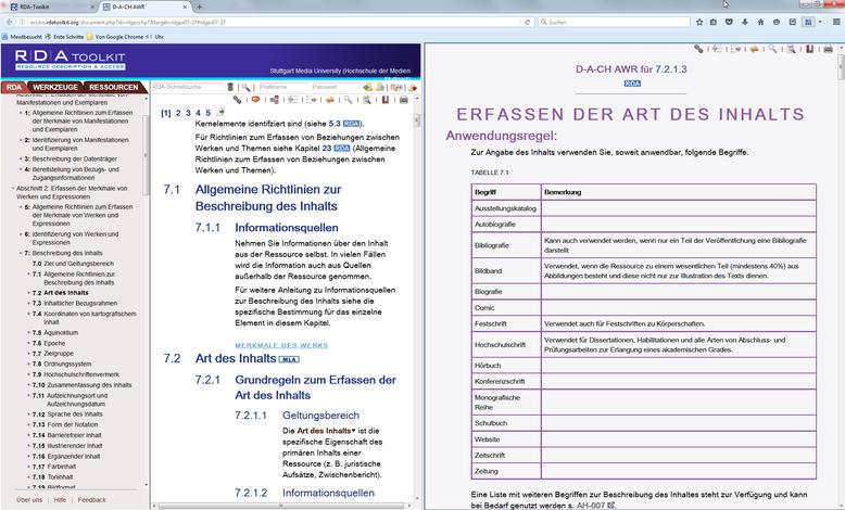 Das Ergebnis: Zwei Stellen aus dem Toolkit in einem horizontal geteilten Bildschirm