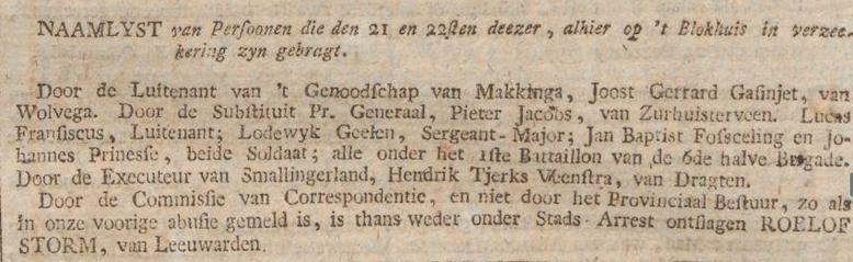 Friesche courant gelykheid, vryheid en broederschap 25-02-1797