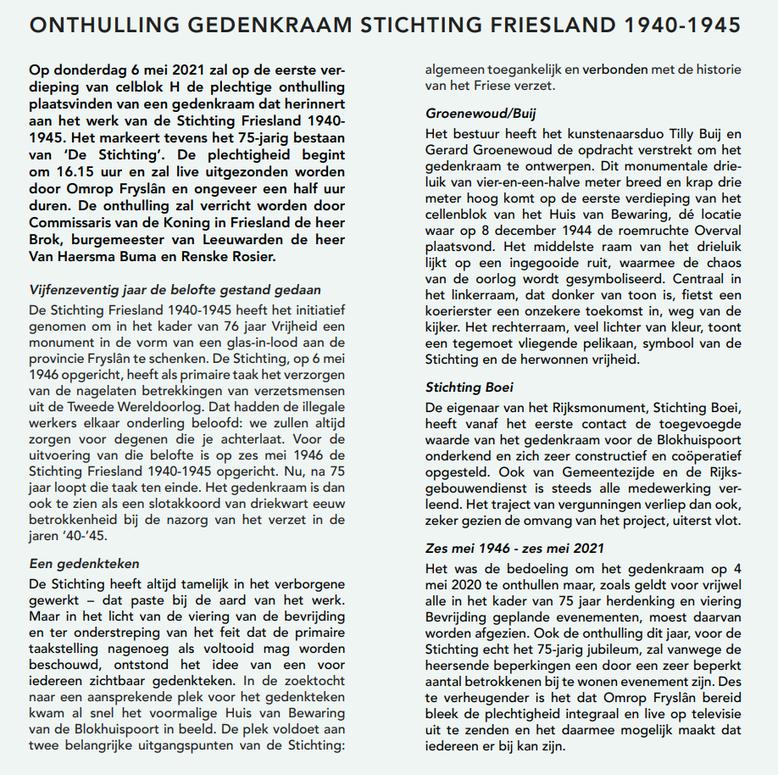 Onthulling gedenkraam Stichting 1940 1945