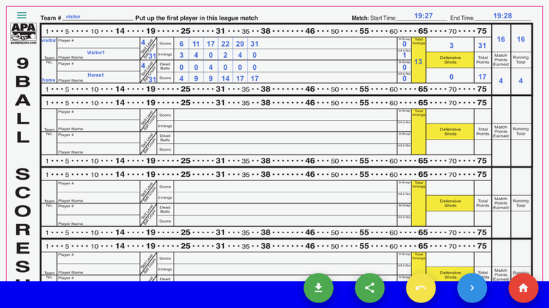 APA 9Ball Score Sheet