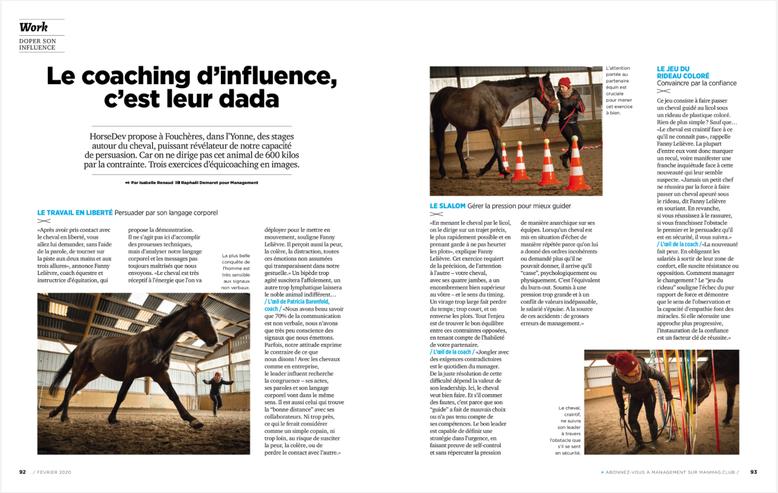 Horsedev, l'equicoaching pour exercer son leadership, article dans Management