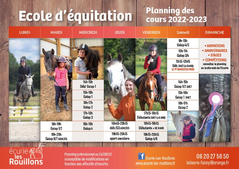 Planning des cours d'équitation 2021-2022, centre équestre et poney-club Les Rouillons, Sens, Yonne