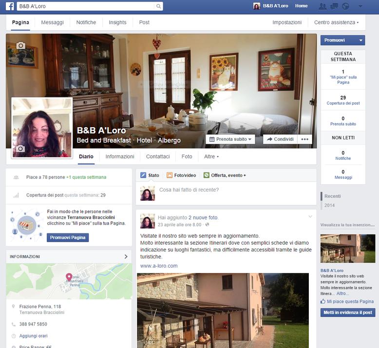 Pagina del social Facebook dell' Hotel B&B A-Loro - Loro Ciuffenna - Arezzo