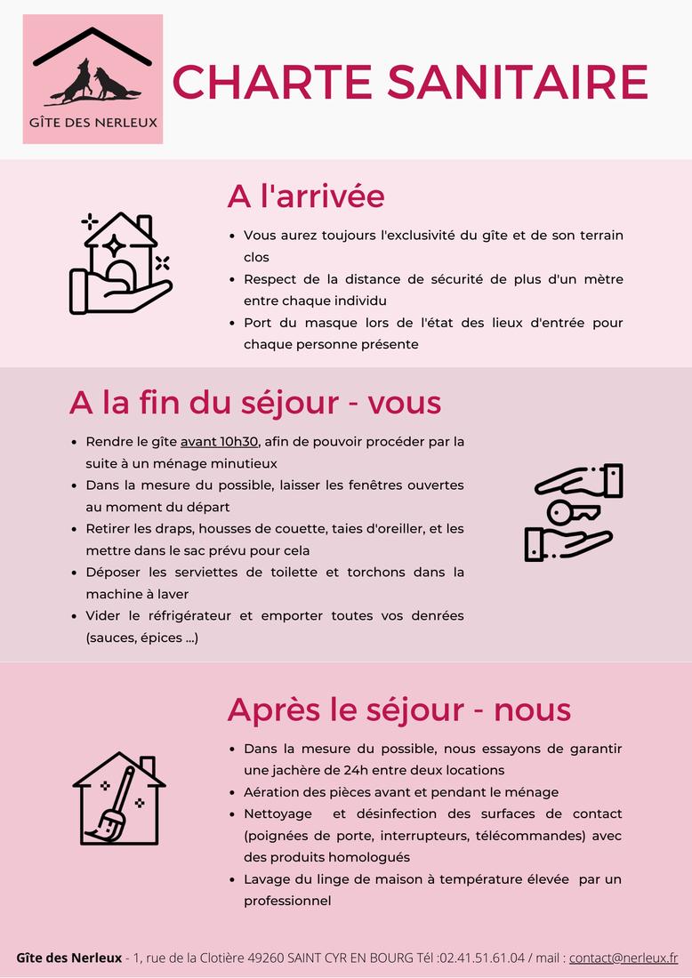 Charte sanitaire Gîte des Nerleux à l'arrivée, à la fin du séjour et après le séjour