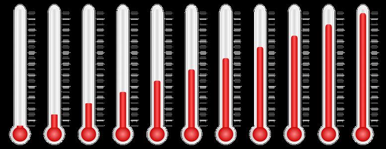 Thermometer mit verschiedenen Temperaturen