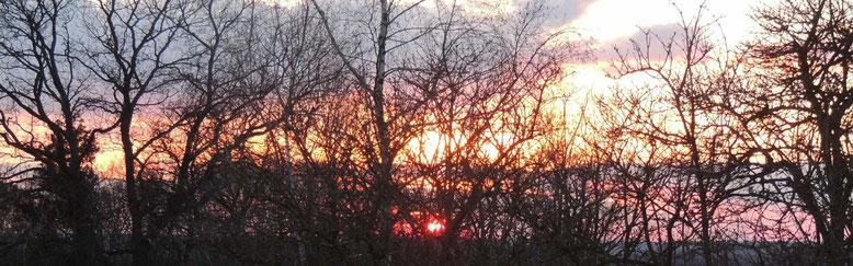 """Bei """"Kaiserwetter"""" traf man sich am Osterberg, erfreute sich am Feuer und einem herrlichen Sonnenuntergang."""