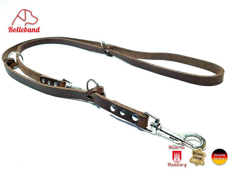 Fettlederleine braun Hundeleine mit Chrom Karabinern und 3 Ringen zum Verstellen