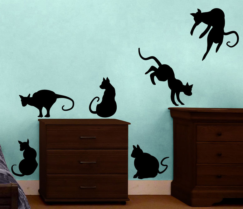 Vinyl wall sticker cat Halloween themed. Sitting and jumping black cats, for walls and windows.