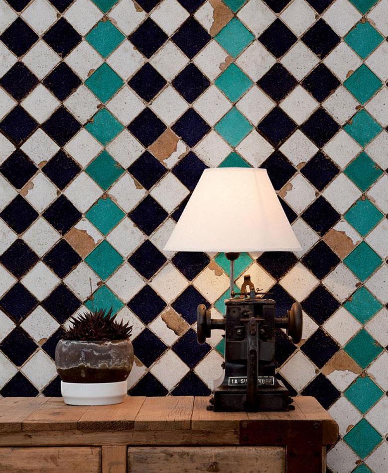 carta da parati turquoise chess coordonné