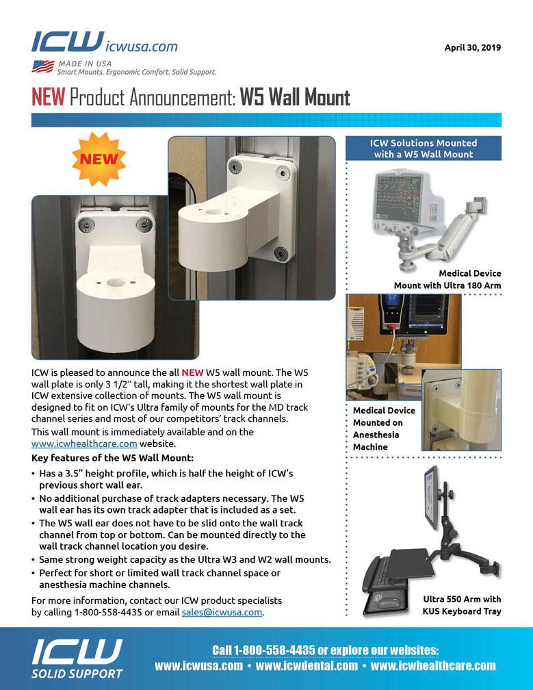 ICWUSA W5 ウォールチャネルマウント 麻酔器  GCXチャネル