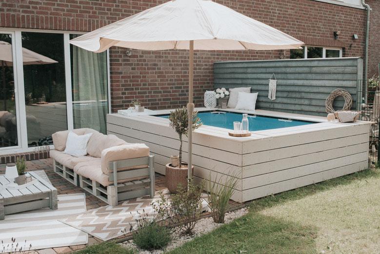 Poolumrandung selber bauen holz Pool Intex bestway stahlrahmenpool aufstellpool urlaub zuhause Ferienhaus Diy Bauanleitung selber bauen