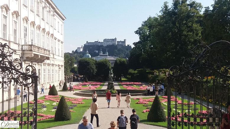 Schloss Mirabell  in Salzburg - Blick vom Mirabellgarten zur Festung Hohensalzburg
