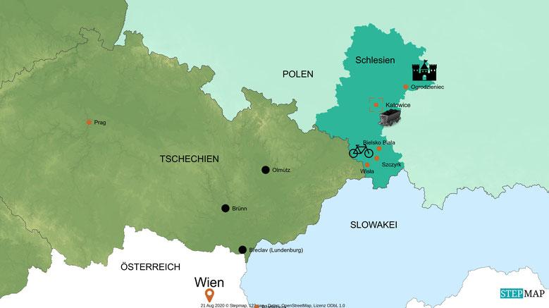 Anreisekarte Wien - Schlesien