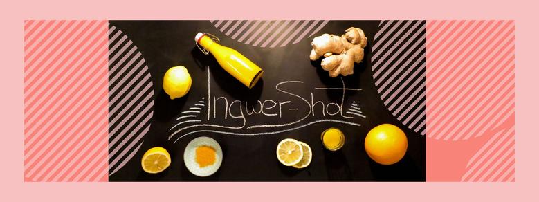 Ingwer Shot mit Kurkuma, Orange, Zitrone, Kokosöl, Ahornsirup
