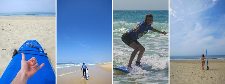 Bilder-Collage: Surfboard, Surfer, Surferin auf einer Welle