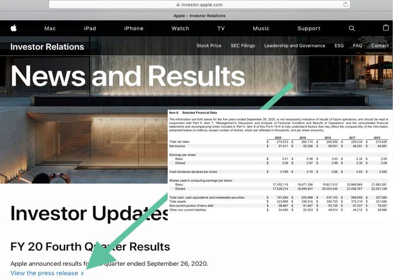 Apple Quartalsbericht und Jahresbericht finden