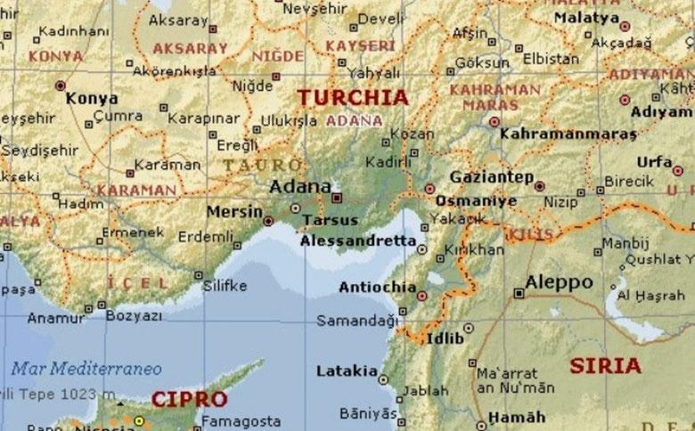 MAPPA DELLA ZONA DI ADANA - CILICIA