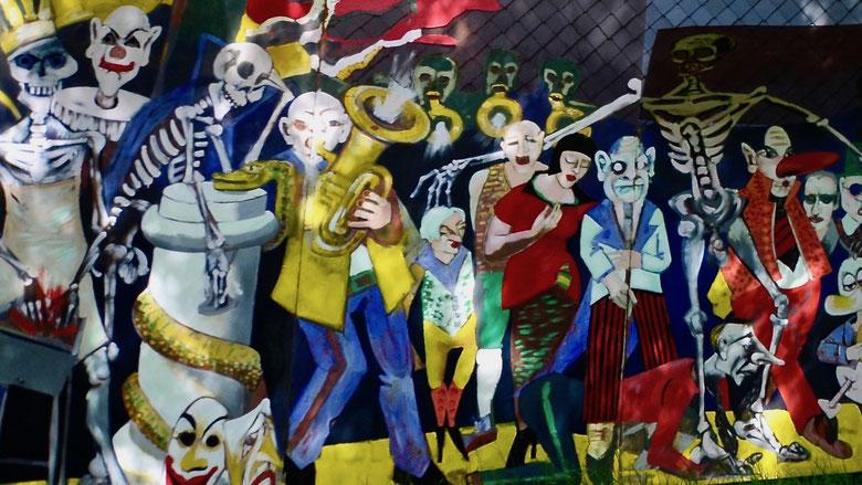 Wandbild im Garten des Kunstvereins in Niedergrunstedt