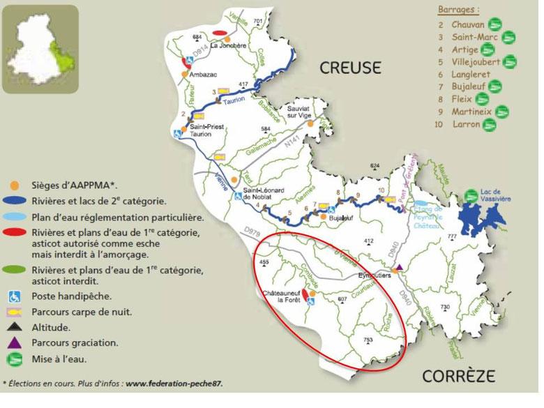 Carte des bassins du Taurion, de la Maulde et de la Vienne (source : Guide de pêche 2016 - FDAAPPMA 87)