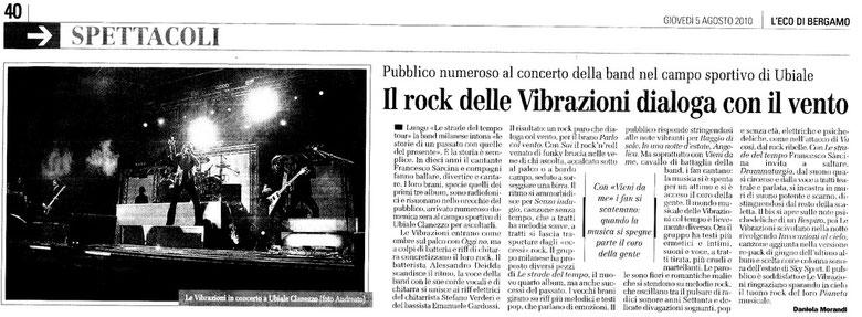 ARTICOLO APPARSO SU L'ECO DI BERGAMO il 05.08.2010