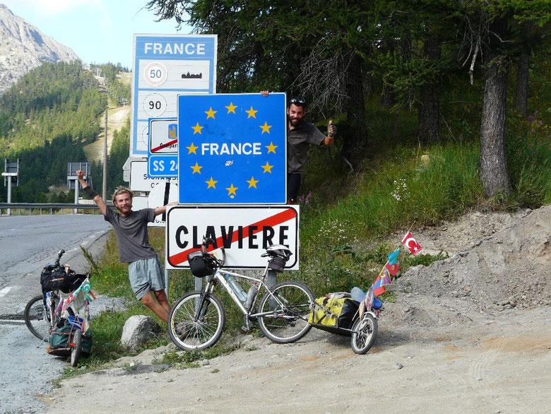 Notre dernière frontière, et notre dernier col juste après, le col du Montgenèvre