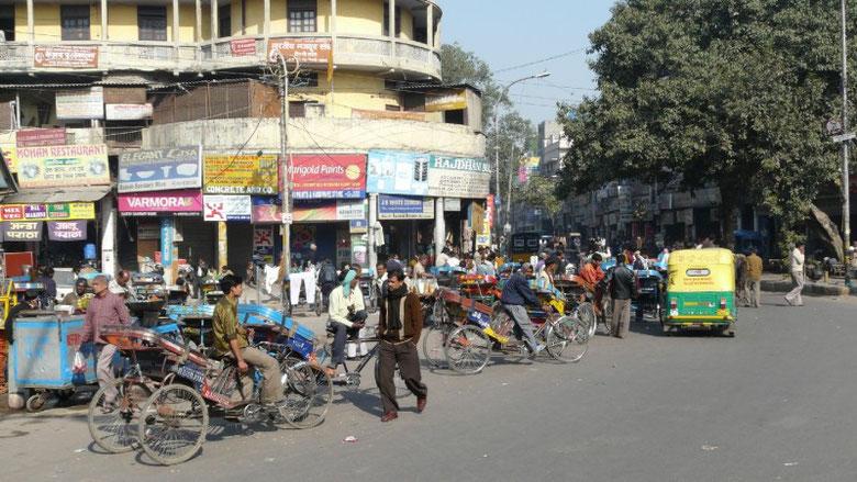 Le vieux Delhi, ses rickshaw à pédales ou à moteur