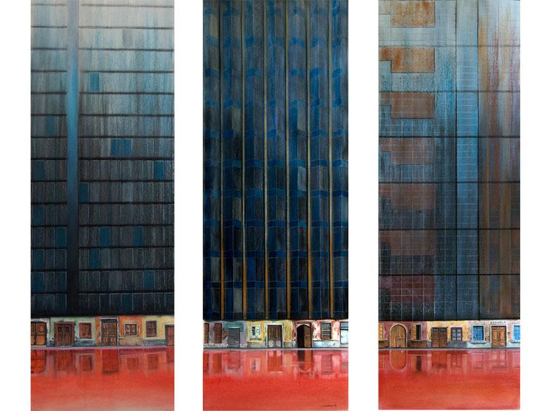 Cimientos (tríptico), 2014, pastel sobre papel, 95x33cm
