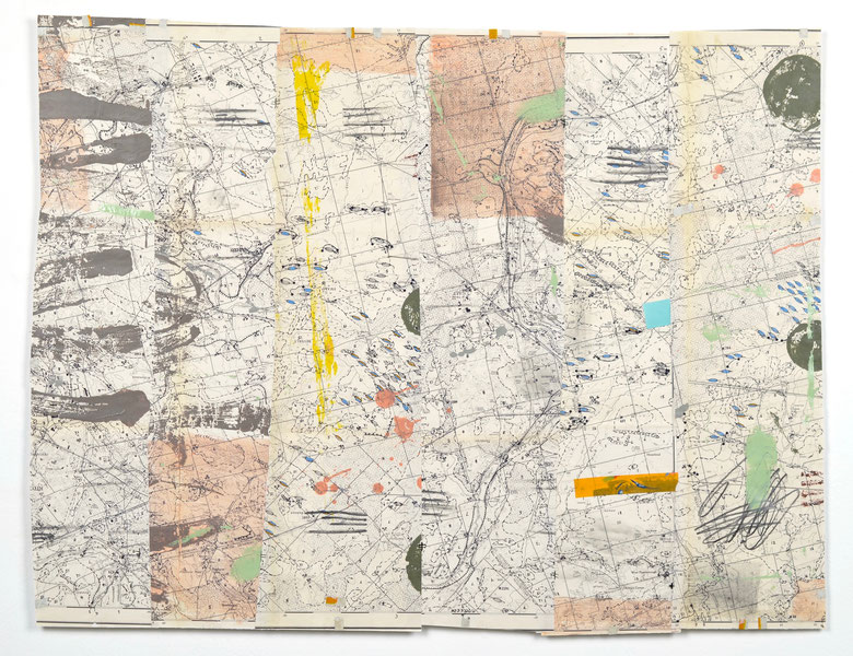 "Map No. 4, acrylic, drawing media, tape, oil enamel, paint chip on collaged geological map, 23""x 30"", 2019. NFS"