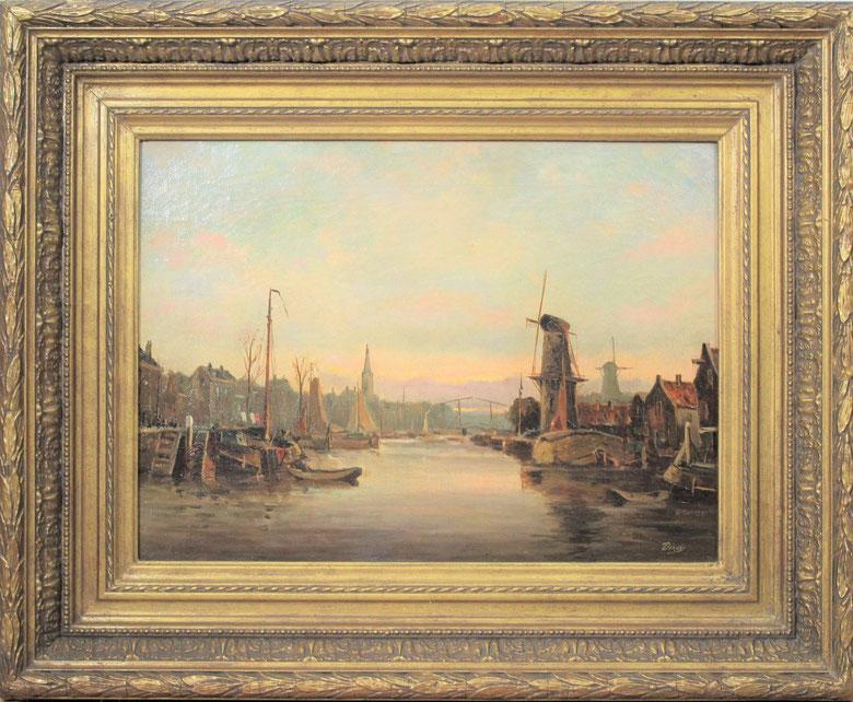 te_koop_aangeboden_een_havengezicht_van_schiedam_van_de_nederlandse_kunstschilder_antonius_bernardus_dirckx_1878-1927