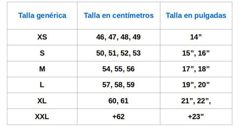 Tabla de equivalencias entre tallas y unidades de medición.