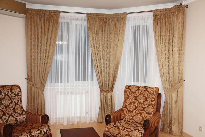 шторы для эркера, шторы для гостиной