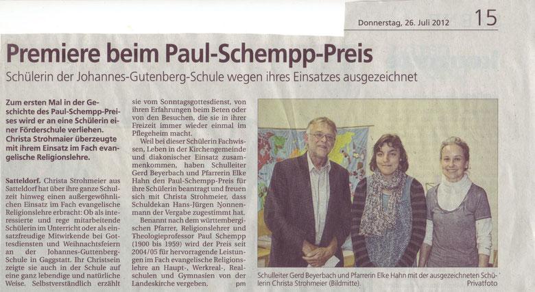 Hohenloher Tagblatt, 26. Juli 2012
