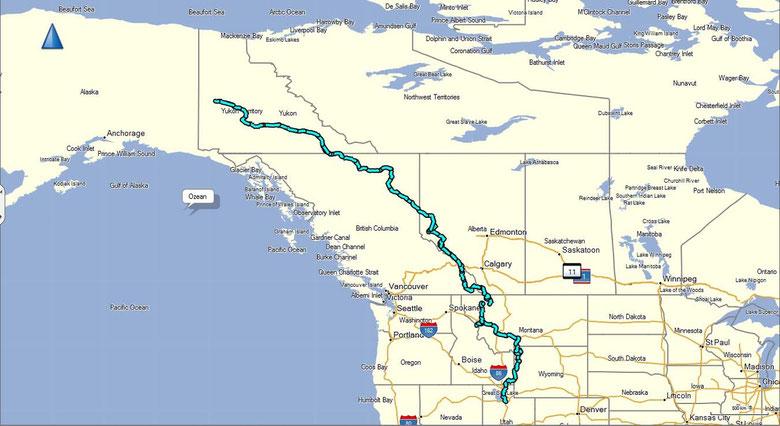 Die Fahrstrecke nach Alaska