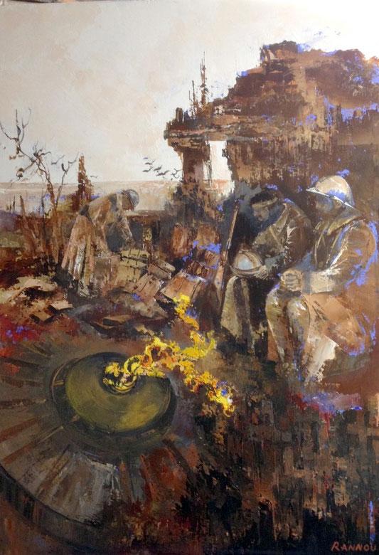 3- Poilus et postérité du symbole.... 116 x 89 cm - (1er Prix de la Flamme au Salon des peintres de l'Armée 2013 . acquisition de l'Armée.