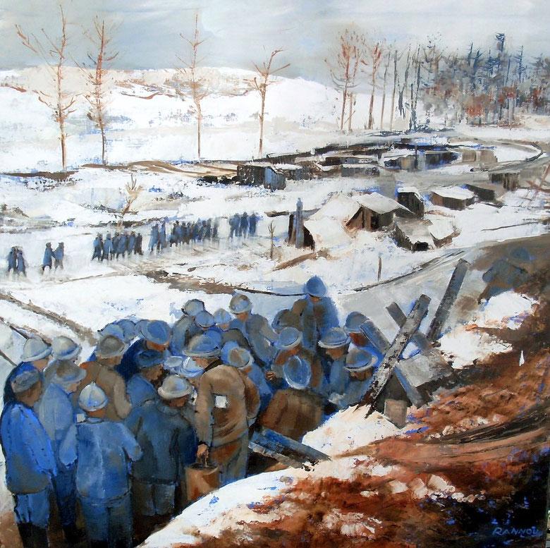 2 - La distribution du courrier au front 80 x 80 cm (1er prix au Salon de l'Armée en 2011)