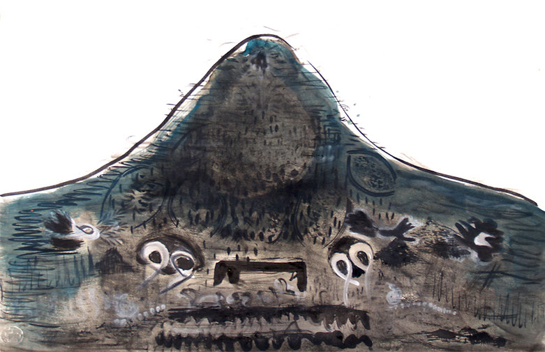 berg II, ink and egg tempera on paper, 54 x 79 cm