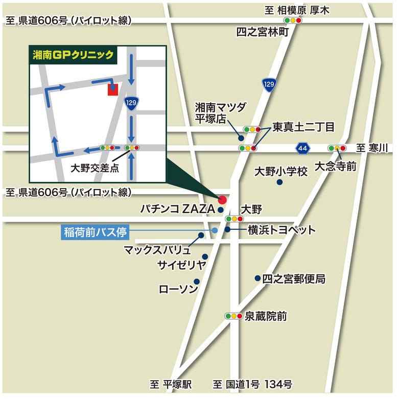 湘南GPクリニック周辺の地図と道順図