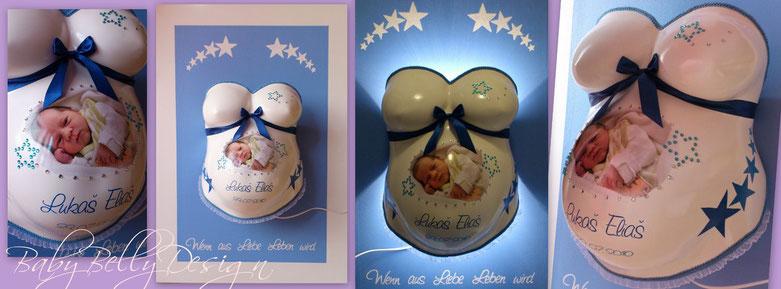Gipsabdruck Babybauch, BabyBellyDesign, Veredelung, Überarbeitung, Oberflächenglättung, Gestaltung, Sterne, Babyfoto, Babybauchabdruck, glätten, Strass