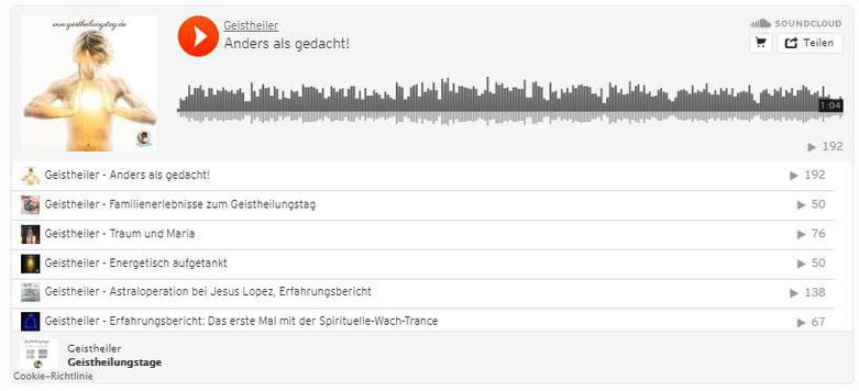 Soundcloud Geistheiler Jesus Lopez, Erfahrungsberichte zu den Geistheilungstagen, Testimonials Geistheilung
